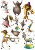 """Подборка отрисованных персонажей мультфильма """"Мадагаскар 3"""" на белом фоне"""