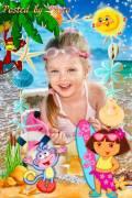 Детская рамка - Даша и Башмачок на море