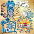 Клипарт - В бело-голубых тонах, в новогодних кружевах