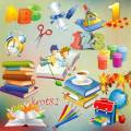 Подборка школьного клипарта на прозрачном фоне – Портфель, книги, краски, карандаши, тетради
