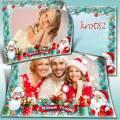 Шаблон новогодней рамки с дедом морозом для семейного фота или группы садика – Чудеса под Новый год