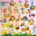 Пасхальный клипарт на прозрачном фоне — Яйца, зайцы, верба, цветы и пасха