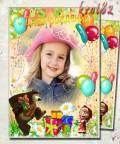Фоторамка для ребенка с шариками, подарками и с Машей — Мы тебя поздравляем
