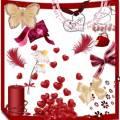 Клипарт для фотошопа ко дню Всех влюбленных - бабочки, сердечки, цветы, банты, свечи