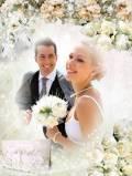 Рамка для фотографии - Свадебные белые розы
