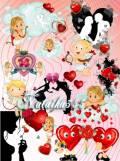 Скрап-набор ко Дню Валентина - Ангелочки нюхают цветочки