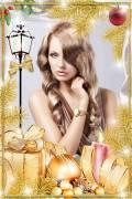 Рамка для фотошопа новогодняя – Золотая ель