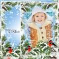 Рамка для оформления зимних фотографий - Алой кисточкой заря, красит грудку снегиря