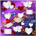 Много разных валентинок кружится в снежном феврале - Клипарт