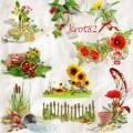 Кластеры летние, клипарт летний с травой, цветами и ягодами для открыток и коллажей – Яркие краски лета