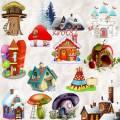 Клипарт – Домик в деревне, домики сказочные, деревянный дом, здания