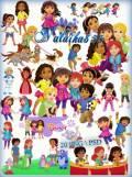 Детский клипарт на прозрачном фоне - Даша и друзья