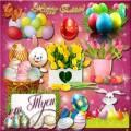 Зайчик пасхальный с корзинкой яиц приносит улыбку для грустных лиц - Клипарт