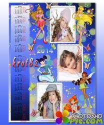 Календарь для фотошопа для девочек – Феи винкс