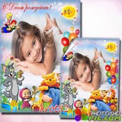 Детская рамка для фотошопа с героями мультфильмов Том и Джерри, Маша и медведь, Вини пух