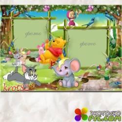 Рамка для детей с Машей, Томом и Джерри, Вини пухом и другими - Волшебный лес