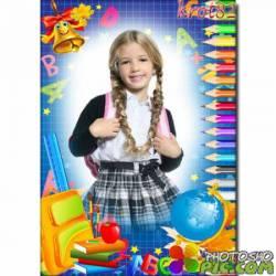 Школьная фоторамка для мальчика или девочки с вырезом для фото – Глобус и карандаши