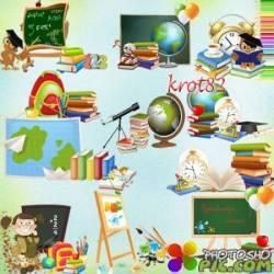 Школьные кластеры на прозрачном фоне – Доска, книги, тетради, карандаши, краски, глобус