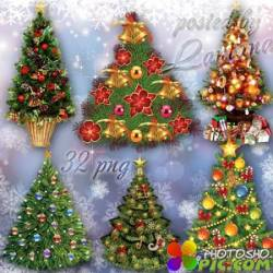 Клипарт на прозрачном фоне - Новогодние елочки