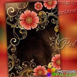 PSD исходник - Розовые цветы в завитках