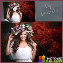 Шаблон для фотошопа - Девушка в цветочном веночке