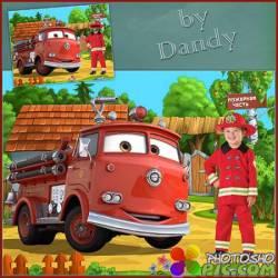 Шаблон для мальчика - Маленький пожарник на работе
