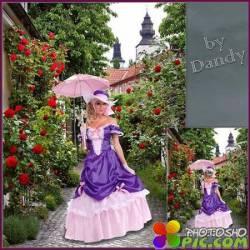 Шаблон для девушки - Мадемуазель с зонтиком