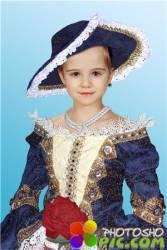 Фотошоп шаблон для девочек – В бальном платье и шляпе