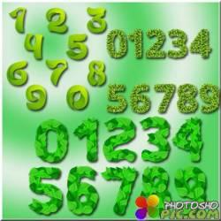 3 набора цифр из листвы - Клипарт