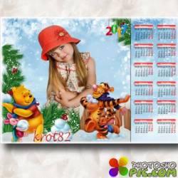 Зимний календарь для ребенка на 2017 год – Лови колобок Винни- Пух