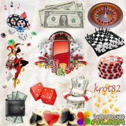PNG клипарт - Деньги клипарт, кубики, игральные карты, казино