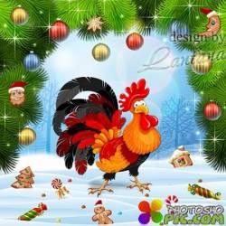 PSD исходник - Под звонкий крик Ку-ка-ре-ку наступит Новый год