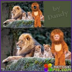 Шаблон для фотошопа - Рыжий львенок
