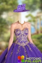 Женский шаблон – Бальное платье с золотым украшением