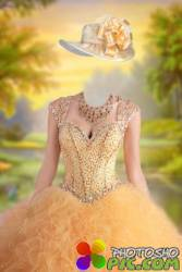 Шаблон женский для фотошопа - Бальное платье золотое