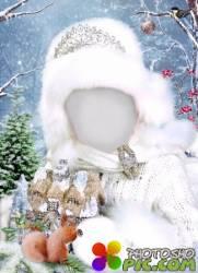 Детский шаблон – Девочка в белой пуховой шапке