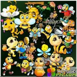 Пчёлки собирают мёд - Клипарт
