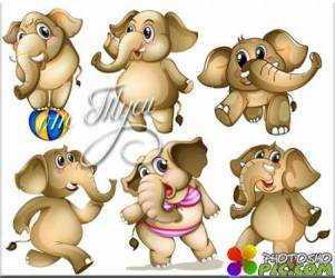 Добрые и смешные слоники - Детский клипарт