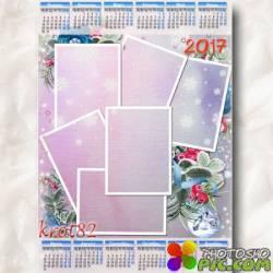 Зимний календарь на 2017 год для несколько фото – Светло-пушистая, снежинка белая