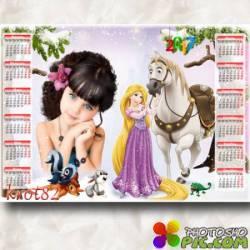 Календарь для ребенка на 2017 год с Рапунцель  – Зимняя сказка