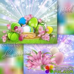 Многослойные фоны - Светлым праздником пасхальным пусть удача в дом войдет