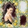 Женская рамка для фотошопа с цветами – Желтые розы
