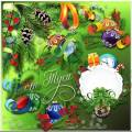 Разноцветные шары украшают ветки ели - Клипарт