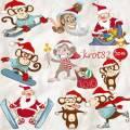 Подборка новогоднего клипарта  PNG – Смешные обезьяны и веселый Дед Мороз