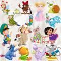 Клипарт PNG персонажи мультиков – Звери, птицы, девочки и мальчики