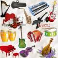 Музыкальный клипарт и кластеры – Фортепиано, гитара, балалайка, гитара, рояль