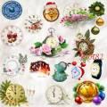 Клипарт PNG – Часы настольные, настенные, наручные, новогодние, с цветами, будильники