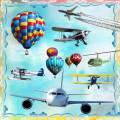 Самолеты и воздушные шары на прозрачном фоне