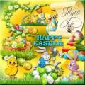 Клипарт к Пасхе - Светлый праздник Пасхи – на куличах и яйцах краски