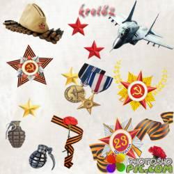 Клипарт на прозрачном фоне к 23 февраля – медали, ордена, гвоздики, оружие, самолеты, танки